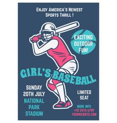 Vintage brochure leaflet flyer poster baseball vector