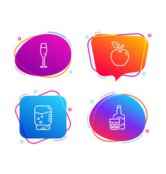 Water cooler champagne glass and apple icons set vector
