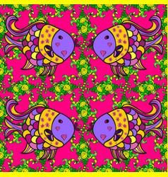 watercolor texture fish pattern magenta green vector image