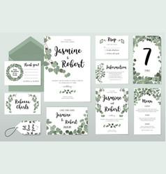 Wedding invitation card eucalyptus design vector