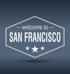 Welcome to San Francisco hexagonal white vintage vector