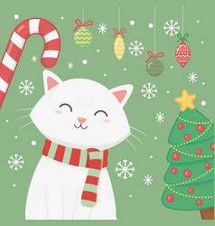 white cat with scarf candy cane and tree vector image