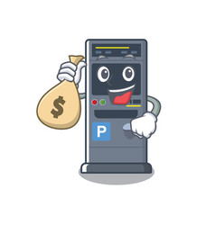 With money bag parking vending machine in a vector