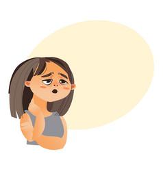 Woman feeling fatigue cartoon vector
