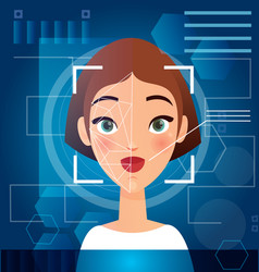 Woman s face recognition vector