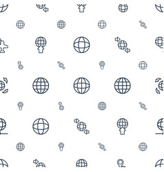 World icons pattern seamless white background vector