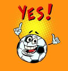 Yes happy fan football soccer ball funny vector