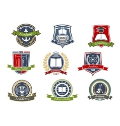 Academy university and college heraldic emblems vector image vector image