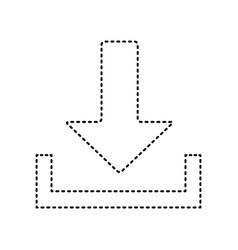 download sign black dashed vector image