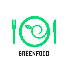 green food logo with tablewares vector image vector image
