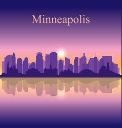 Minneapolis city silhouette on sunset background vector