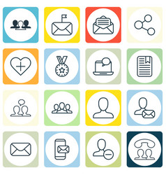 set of 16 social icons includes online letter vector image