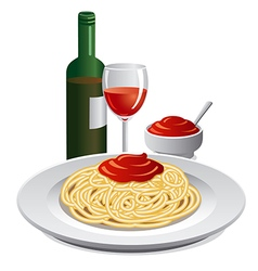 spaghett and sauce vector image vector image