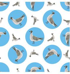 Watercolor sea gull seamless pattern hand drawn vector