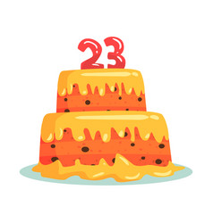 birthday cake with number 23 celebration party vector image vector image