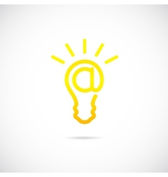 E-mail Sign Light Bulb Concept Symbol Icon or Logo vector image vector image