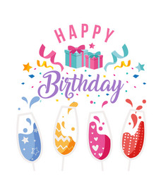 happy birthday wine glass gift box ribbon backgrou vector image