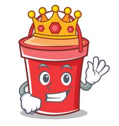 king bucket character cartoon style vector image vector image
