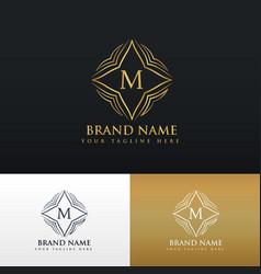 letter m golden line art monogram logo vector image
