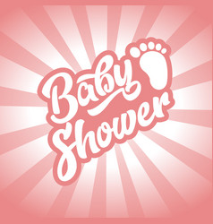 pink baby foot baby shower invite greeting card vector image vector image