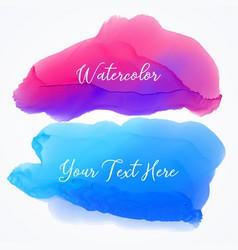 set of two watercolor stain texture background vector image vector image