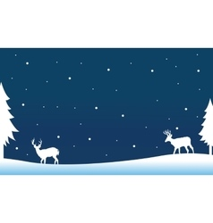 Silhouette of deer on the hill winter vector image vector image