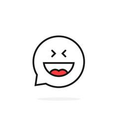 thin line joy emoji speech bubble logo vector image vector image