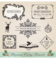 Vintage christmas elements set vector image vector image