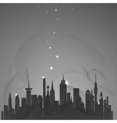 Abstract city with stars vector image