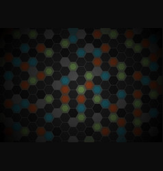 black and colorful hexagons tech pattern design vector image vector image