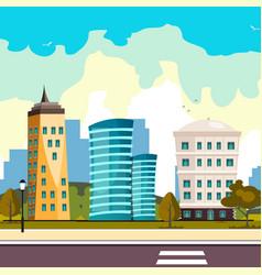 buildings city flat cartoon style modern vector image vector image