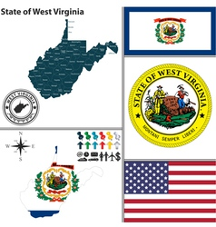 Map of West Virginia with seal vector image vector image