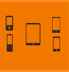 mobile phones and tablets on an orange background vector image
