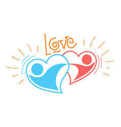 two loving hearts in a dance vector image vector image