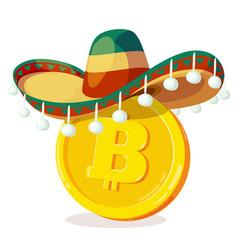bitcoin in mexican hat cartoon digital currency vector image vector image