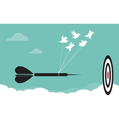 image of birds with darts target aim in the sky vector image vector image