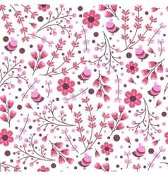 seamless pattern with hand drawn leaves and vector image vector image
