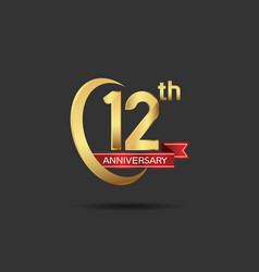 12 years anniversary logo style with swoosh ring vector