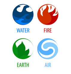 4 elements nature round icons water earth fire vector