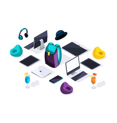 Accessories of teenagers in isometric vector