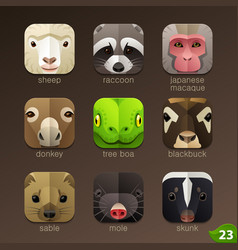 Animal faces for app icons-set 23 vector