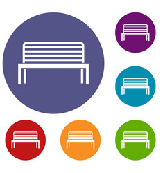 Bench icons set vector