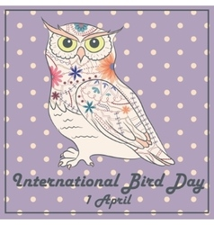 Bird day with owl vintage vector image