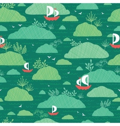 Boats among islands seamless pattern background vector image