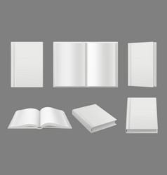 books cover template clean white 3d pages vector image