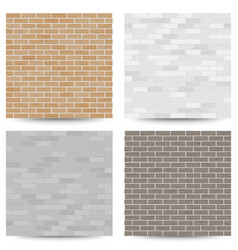Brick wall seamless pattern set vector