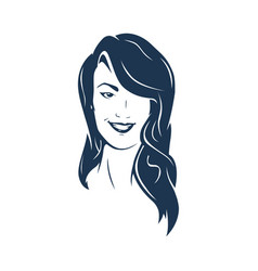 brunette hair woman face vector image