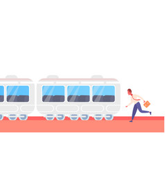Businessman running to catch train subway city vector
