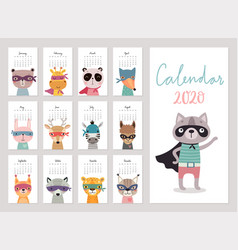 Calendar 2020 cute monthly calendar with super vector