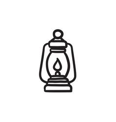 Camping lantern sketch icon vector